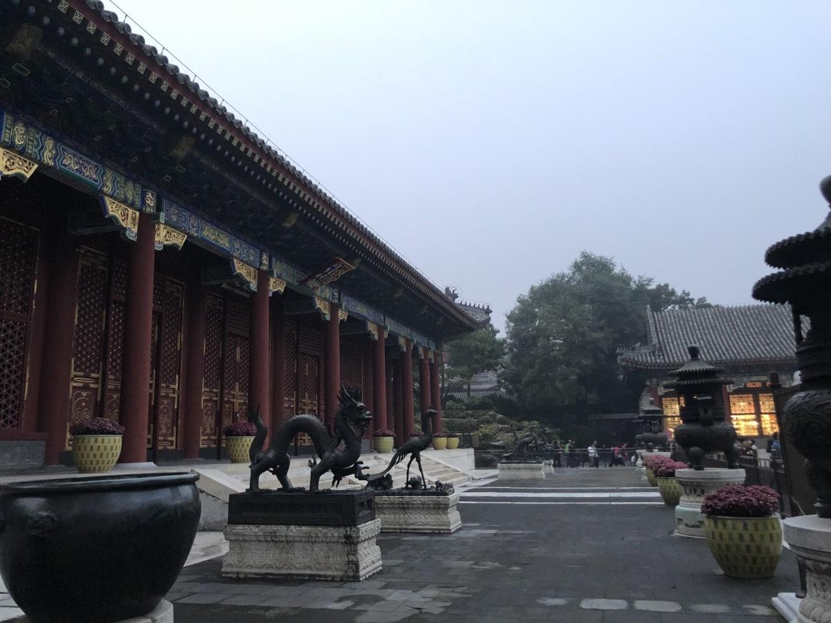 Zamek, Chiny, Chiński, Smok, głowa smoka, Rzeźba, Świątynia, Turystyka, Atrakcja turystyczna, ludzie