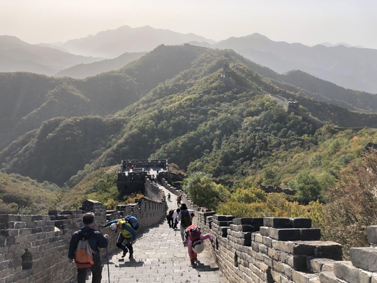 Kina, kinesisk, väkijoukko, Enestående, folk, turisme, turist, væg, bjerg, højt land