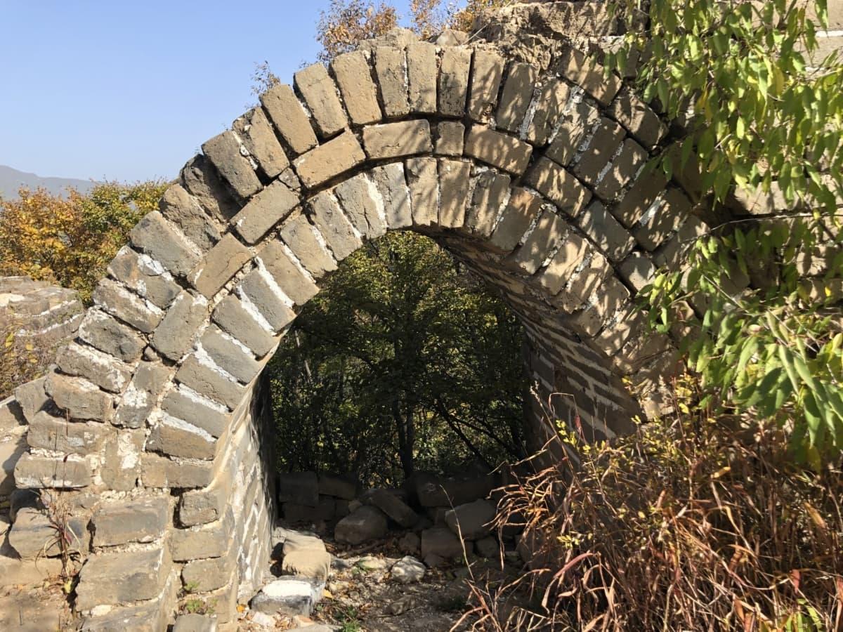 arch, archéologie, style architectural, briques, forteresse, médiévale, mur, structure, architecture, antique
