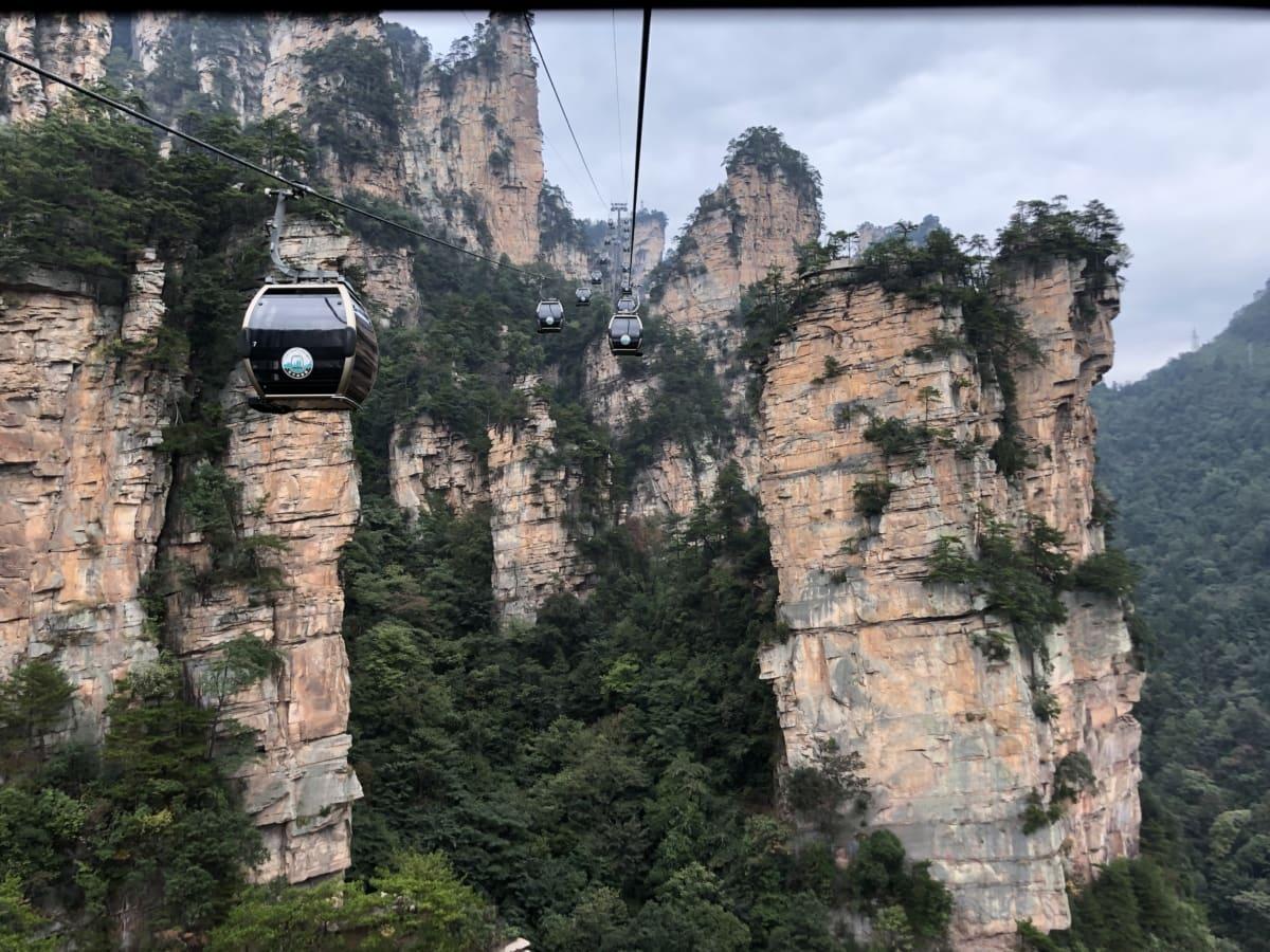 kabel, žičara, prijevozno sredstvo, planine, transport, krajolik, stijena, drvo, litice, park