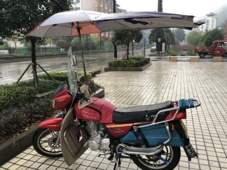 Asia, moped, rain, transport, umbrella, minibike, motorcycle, vehicle, bike, wheel