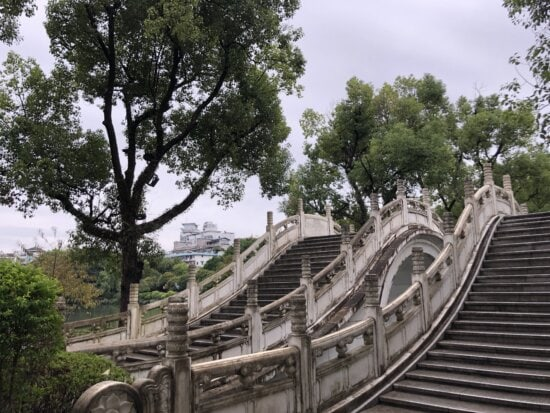 Asia, China, staircase, stairs, traditional, park, tree, road, walk, architecture
