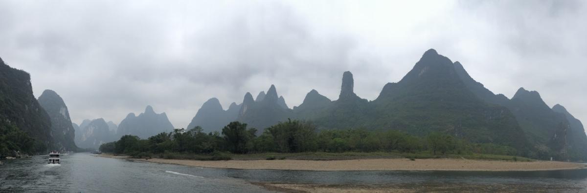 Asiatiske, Panorama, floden, turistattraktion, landskab, bjerge, vand, rækkevidde, bjerg, højt land
