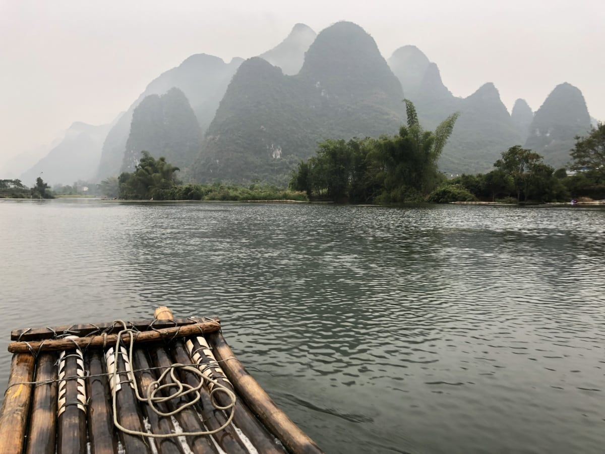 Asia, China, ecotourism, national park, rafting, shore, landscape, channel, lakeside, water