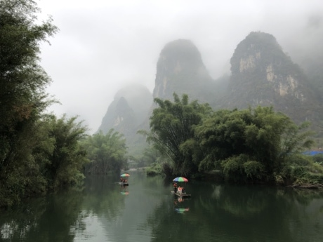 Asia, people, rafting, river, rural, landscape, fog, channel, wood, nature