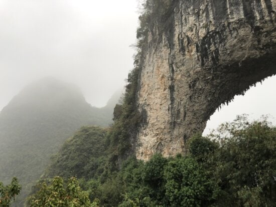 arch, Asia, formation, geology, rock, nature, mountain, tree, forest, landscape