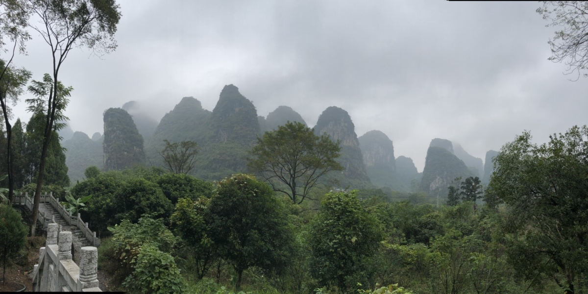 castle, China, hills, jungle, staircase, wilderness, fog, mountain, rainforest, landscape