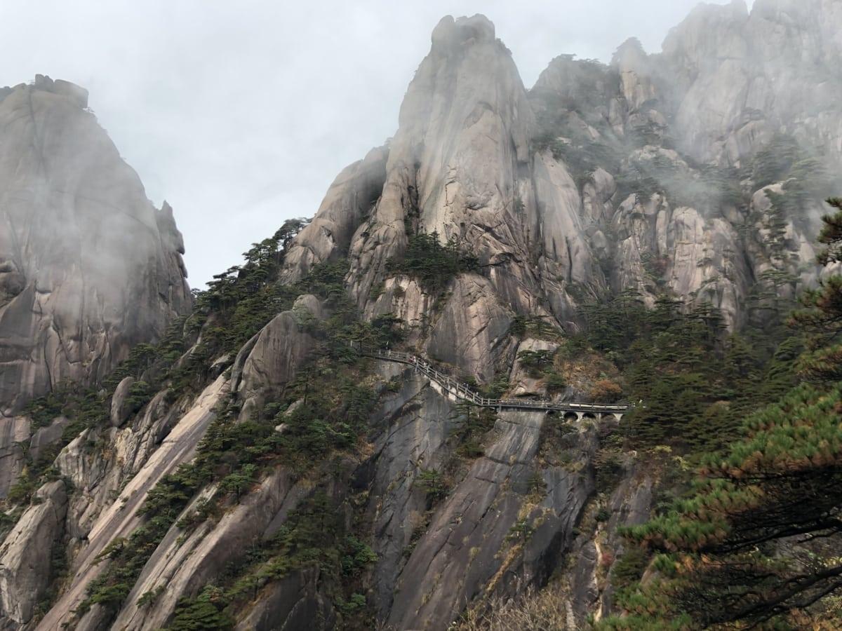 Asia, bridge, cliff, high land, mist, mountain peak, mountain, rock, park, landscape