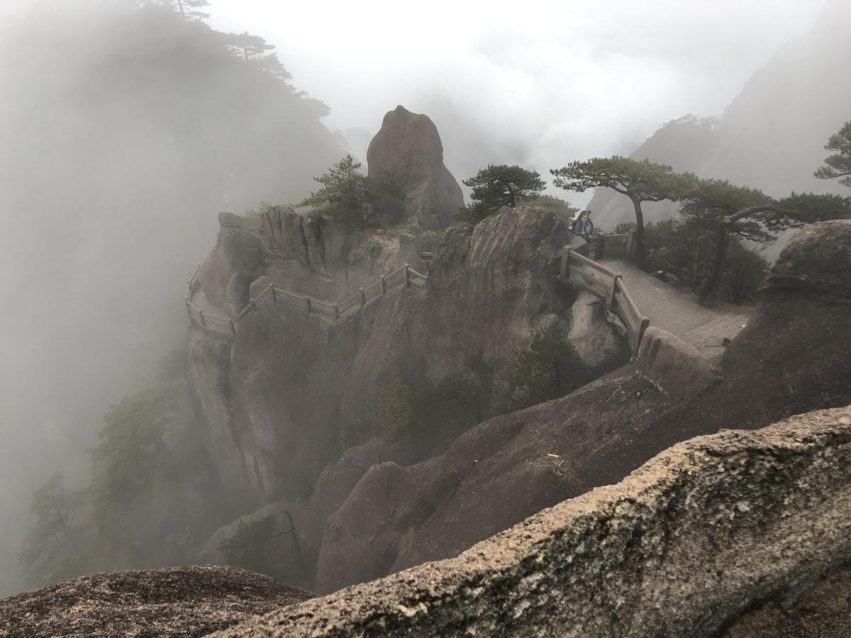 L'Asie, falaise, brume, pente, attraction touristique, brouillard, montagne, paysage, nature, Roche
