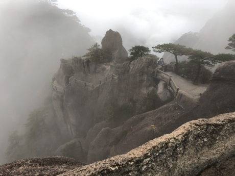 Asia, cliff, mist, slope, tourist attraction, fog, mountain, landscape, nature, rock