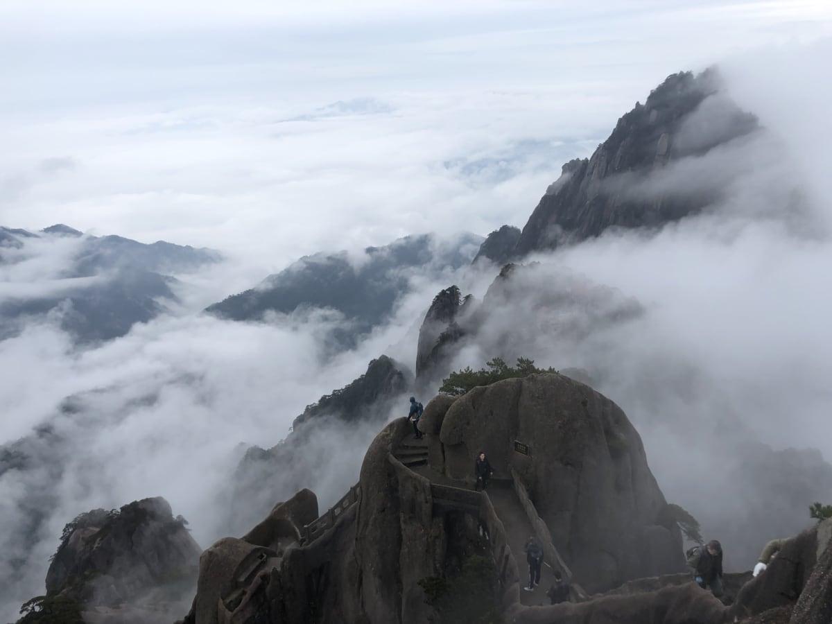 Asia, China, condensation, mist, mountain climbing, mountain peak, people, tourist attraction, mountain, mountains