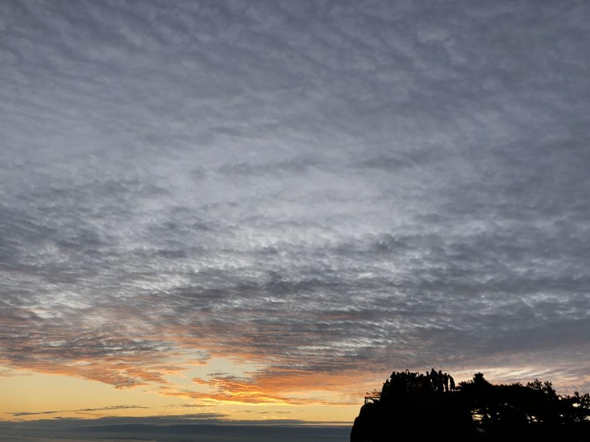 oblačno vrijeme, dramatičan, horizont, silueta, suncevi zraci, izlazak sunca, divljina, atmosfera, Sunce, krajolik
