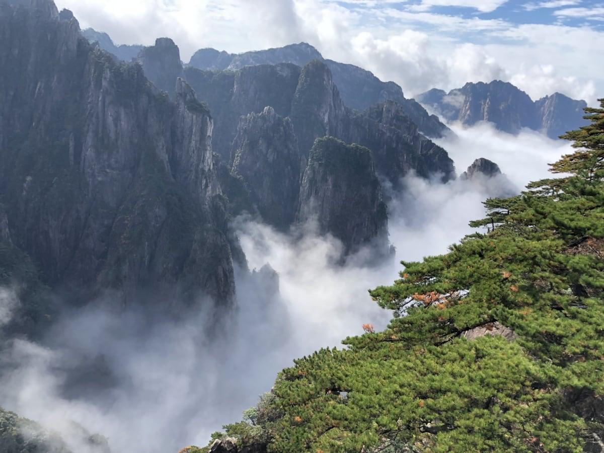 мътен, мъгливо, величествен, мъгла, сутрин, долината, планински, вулкан, пейзаж, вода
