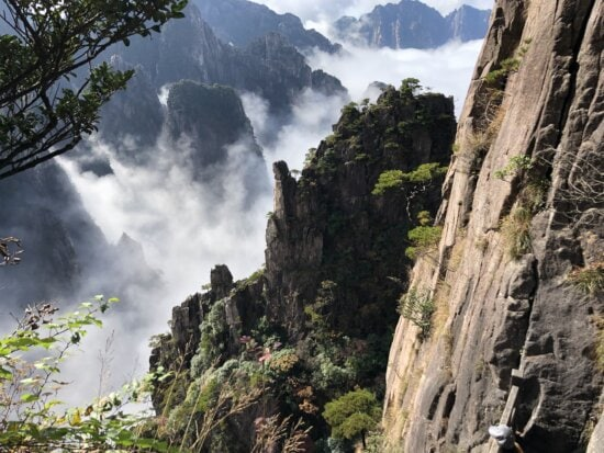majestic, mist, morning glory, panorama, valley, mountain, rock, cliff, mountains, tree