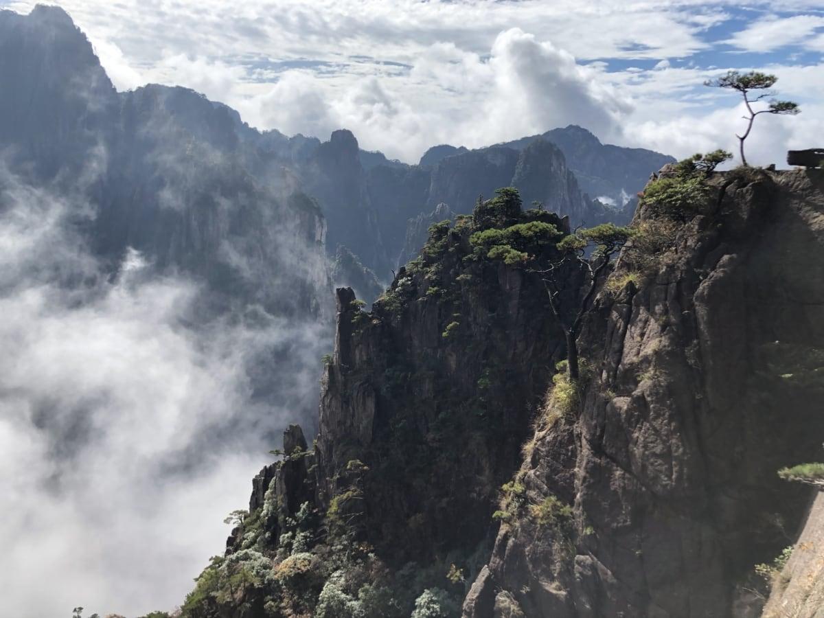 cliff, mist, range, wilderness, mountain, rock, landscape, mountains, nature, water