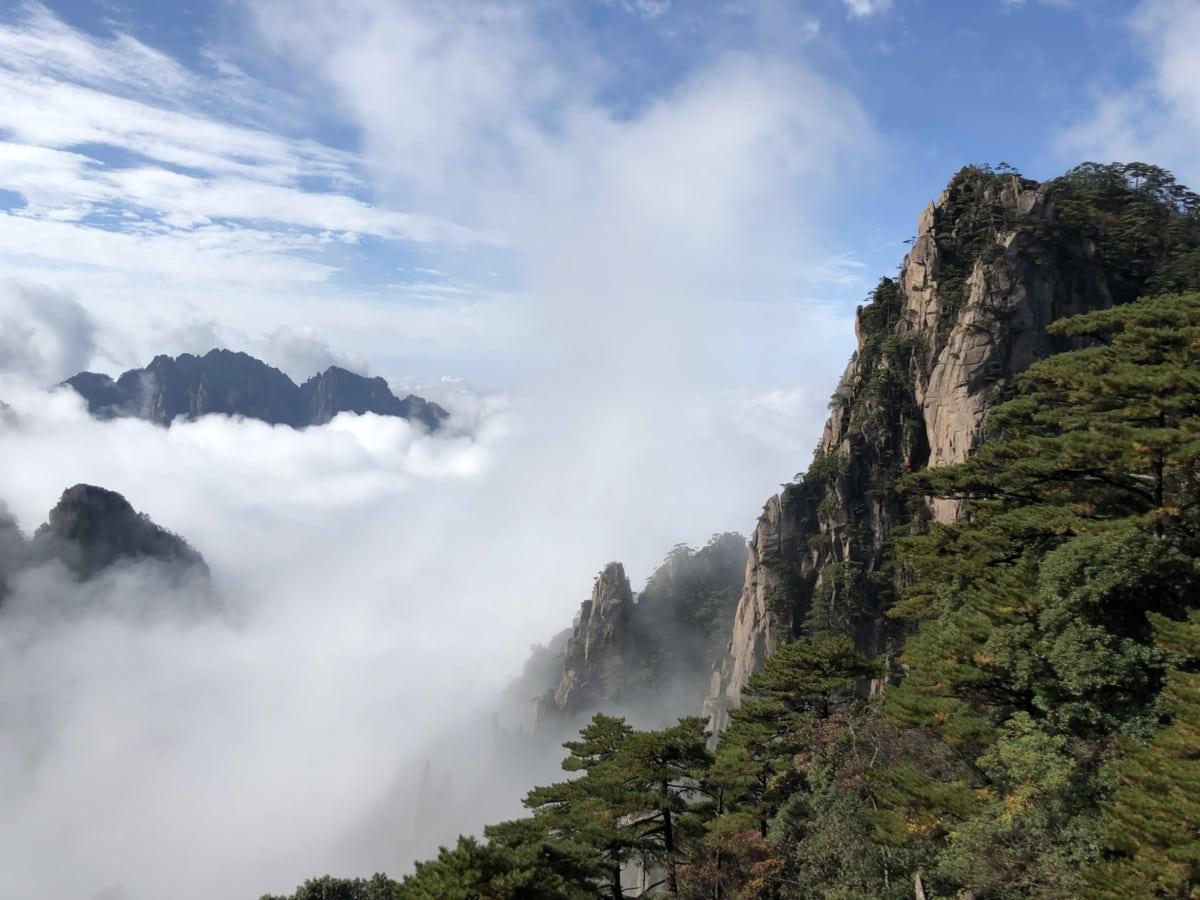 L'Asie, falaise, brumeux, matin, gloire du matin, nature sauvage, Roche, paysage, montagne, nature
