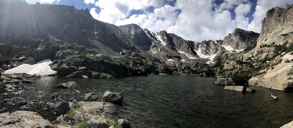 glacier, mountain peak, river, river basin, sunshine, water, mountains, landscape, snow, range