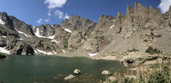 Sommet de montagne, montagnes, Panorama, rocheux, rivière rocheuse, Glacier, bassin, paysage, montagne, neige