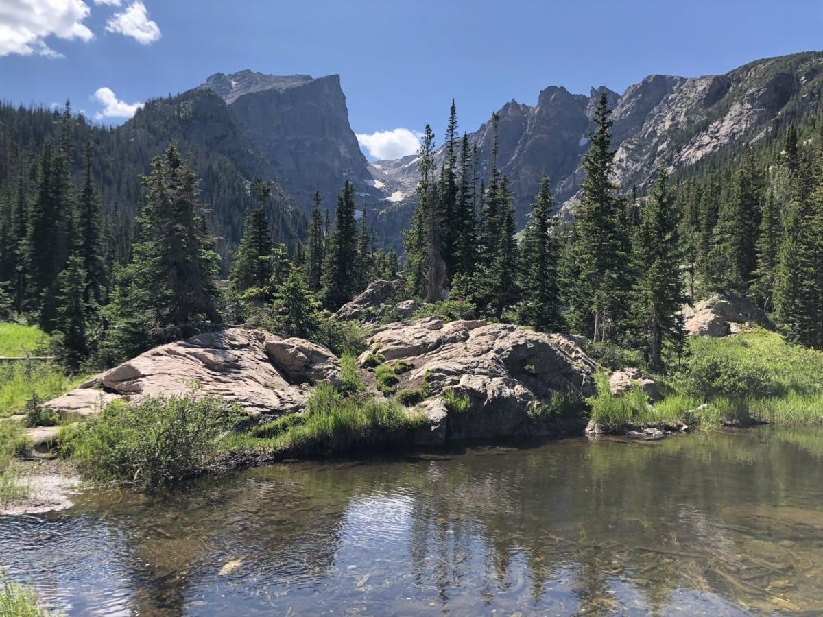 Parc national, rivière, berge, États-Unis, montagne, eau, paysage, Forest, gamme, montagnes