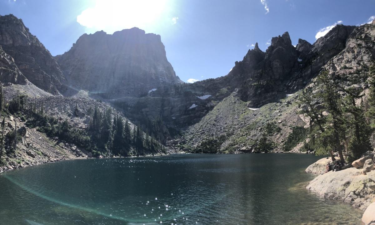 bassin, ciel bleu, Lac, lueur du soleil, ensoleillement, montagne, Glacier, montagnes, gamme, paysage