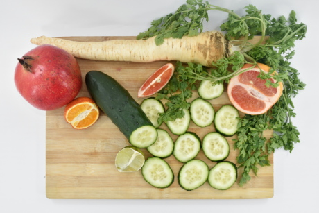 cucumber, grapefruit, mandarin, parsley, pomegranate, dinner, lunch, meal, food, plate