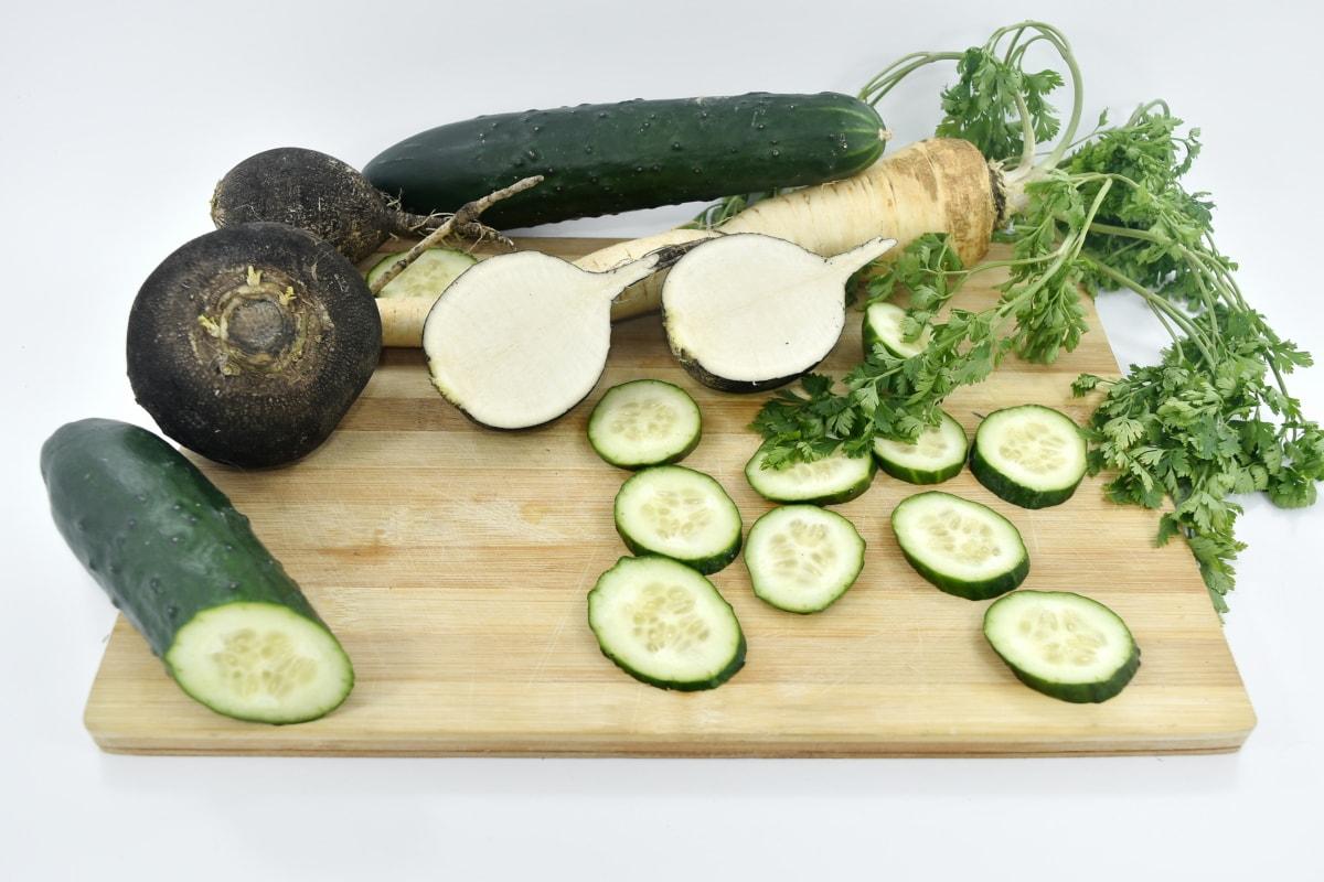 cucumber, parsley, radish, vegetable, food, health, healthy, meal, leaf, nature