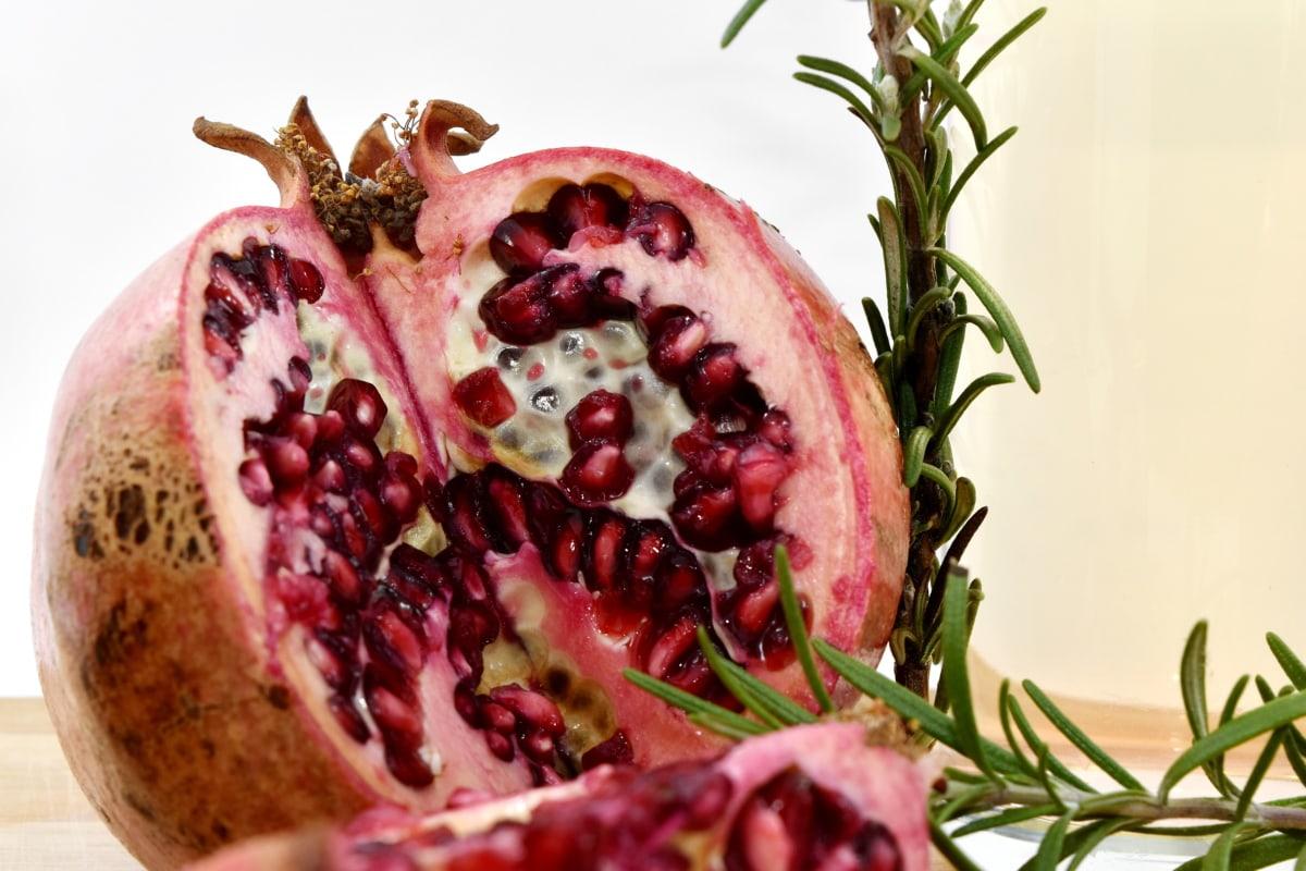 organic, pomegranate, rosemary, seed, twig, vegan, vegetarian, produce, dessert, fruit