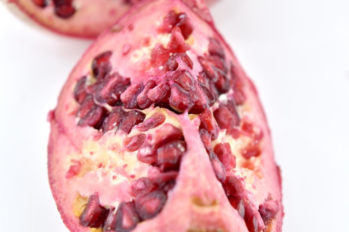 exotic, fresh, fruit, pomegranate, seed, slice, tropic, produce, food, health