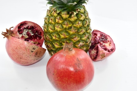 healthy, food, fresh, fruit, produce, pomegranate, pineapple, tropical, exotic, juice