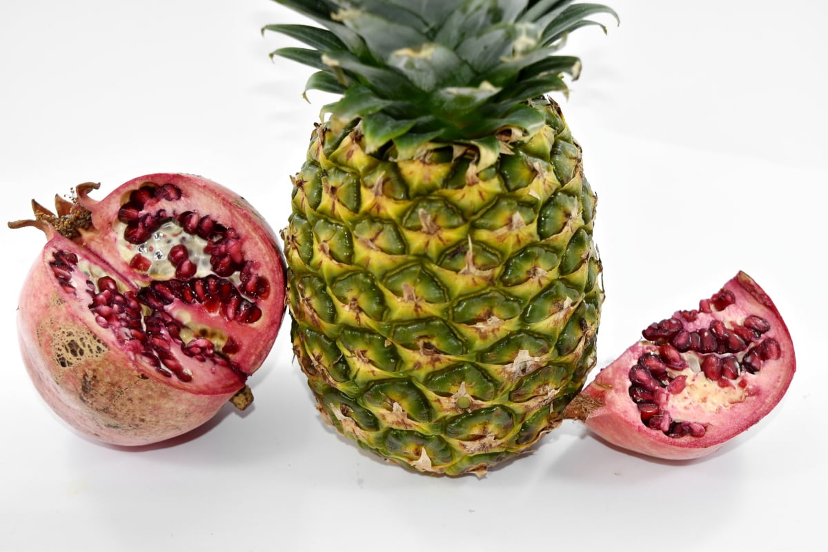 fruit, pomegranate, pineapple, tropical, exotic, food, healthy, health, nutrition, sweet