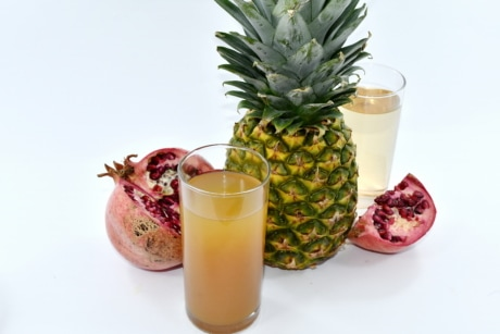 fruit juice, pineapple, juice, produce, tropical, fruit, food, drink, health, leaf