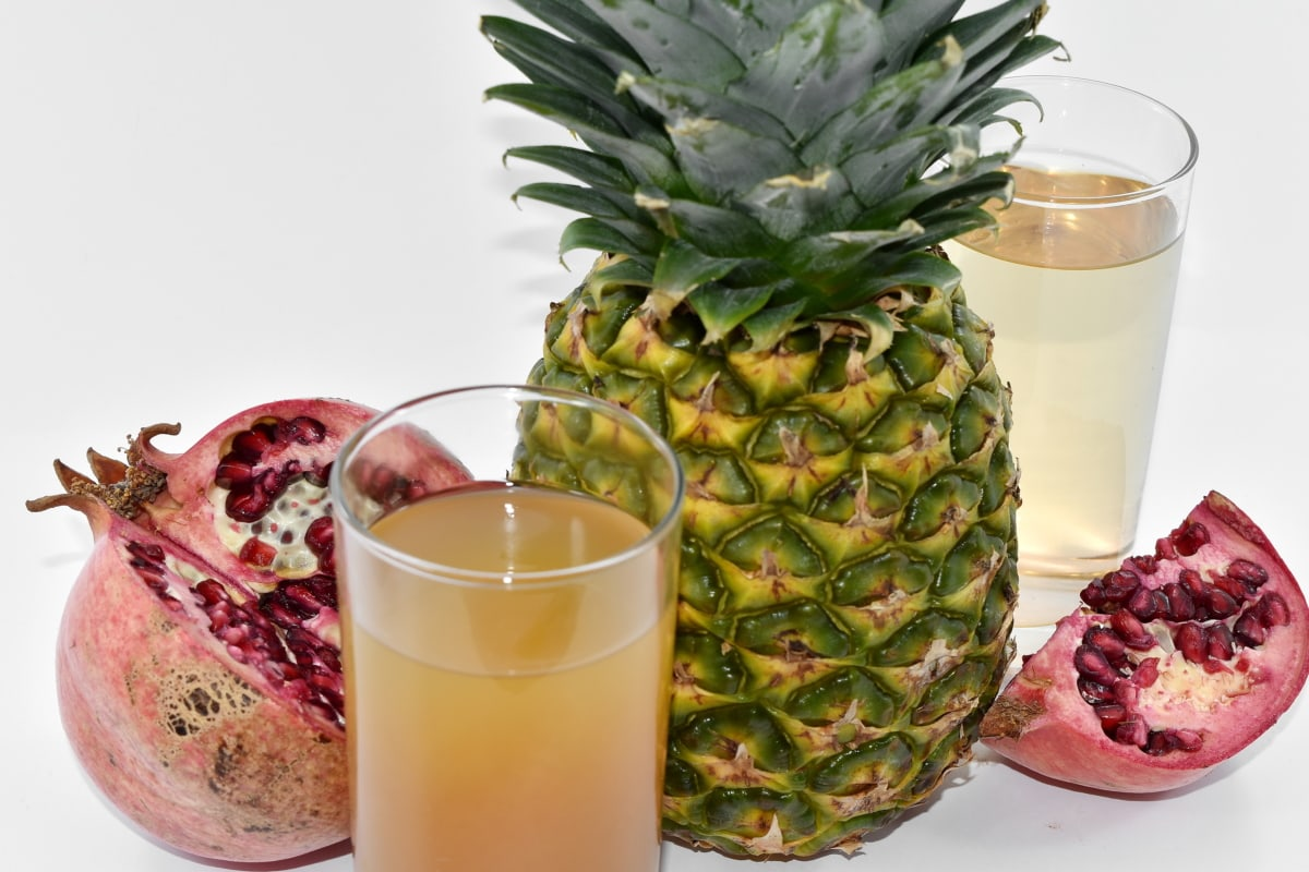 fruit cocktail, pomegranate, syrup, pineapple, tropical, food, fruit, produce, juice, glass