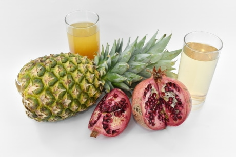 antioxydant, frais, eau douce, cocktail de fruits, ananas, Grenade, tropical, vitamines, alimentaire, jus de