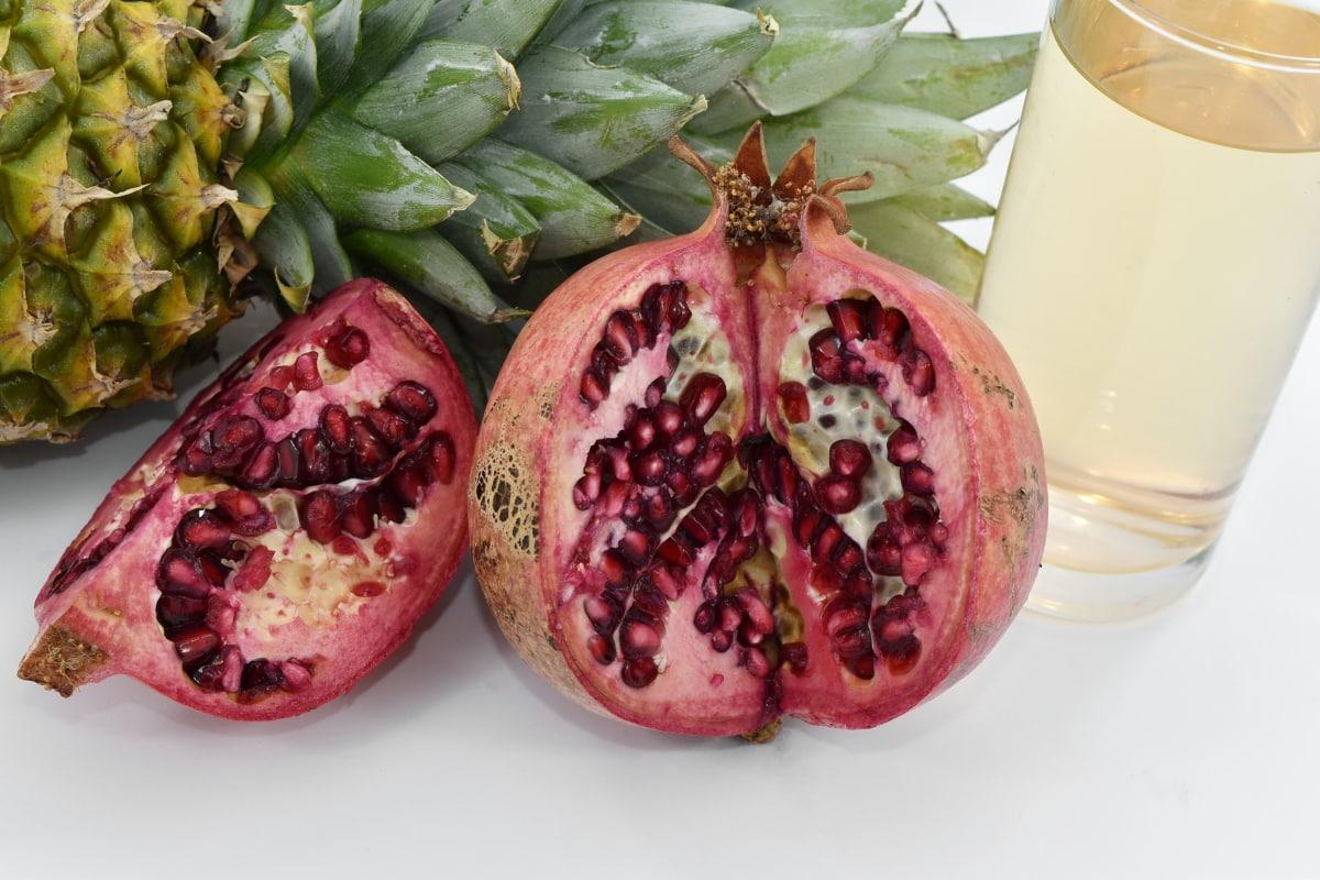 beverage, drink, fruit cocktail, kernel, pineapple, pomegranate, tasty, produce, tropical, fresh