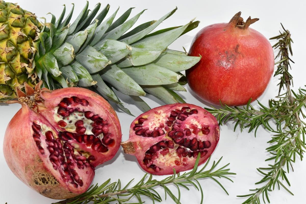 pineapple, rosemary, spice, pomegranate, diet, food, produce, fresh, fruit, health
