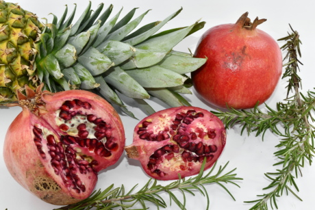 pineapple, rosemary, spice, pomegranate, diet, food, produce, fresh, fruit, health