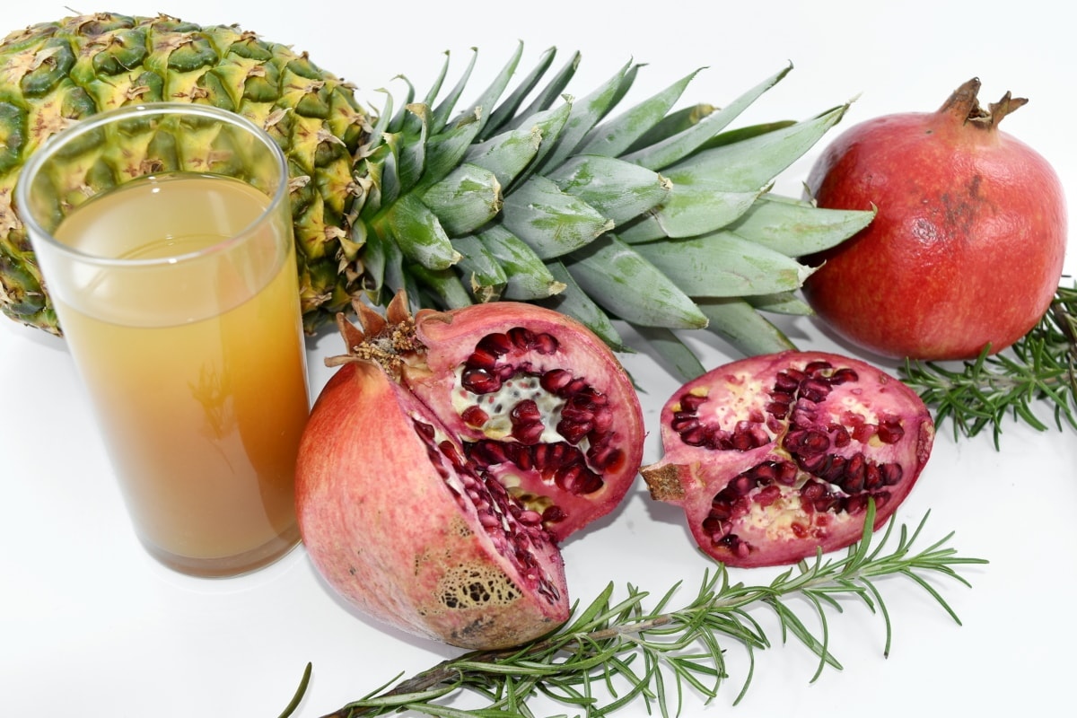 fruit cocktail, pineapple, pomegranate, rosemary, syrup, diet, vegetable, fruit, vitamin, food