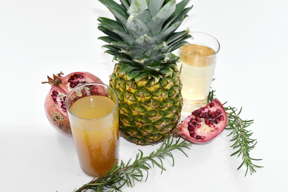 fruit cocktail, fruit juice, pineapple, pomegranate, syrup, fruit, produce, food, juice, health