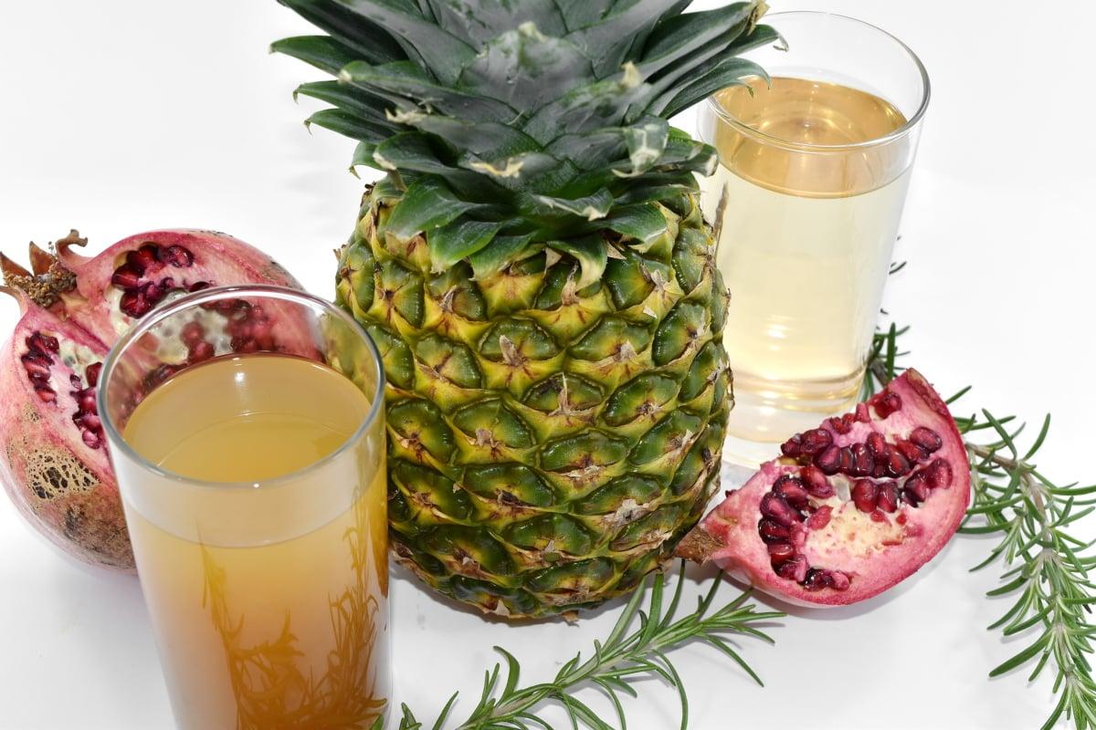 antioxidant, exotic, fruit cocktail, pineapple, pomegranate, tropical, food, fruit, produce, juice