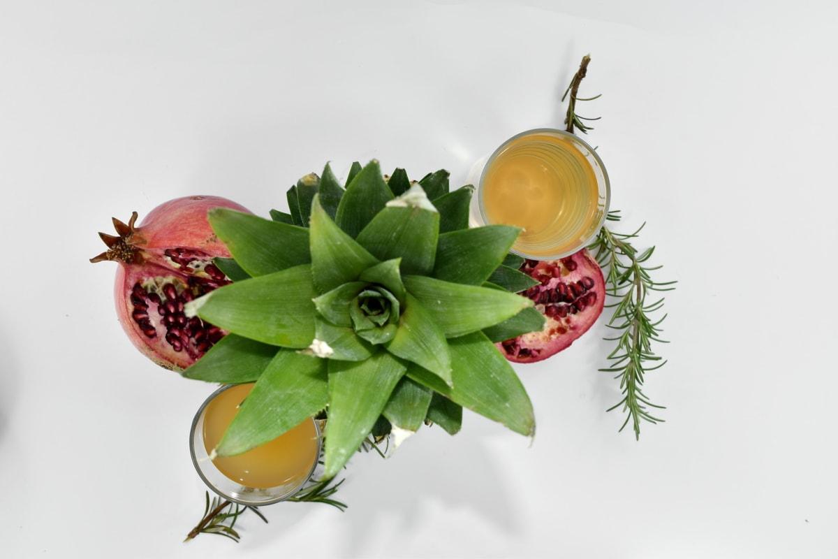 antioxidant, fruit cocktail, juice, pineapple, pomegranate, tropical, nature, leaf, food, health