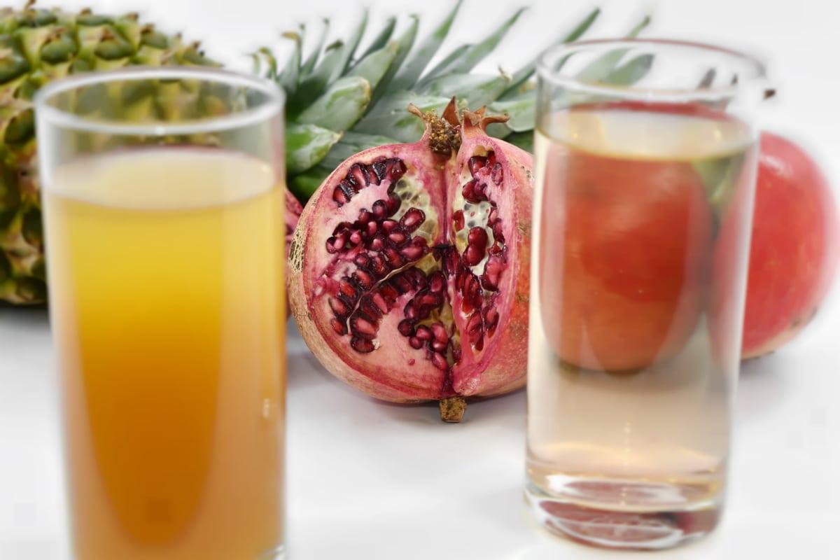 antioxidant, fruit cocktail, juice, lemonade, minerals, organic, pineapple, pomegranate, syrup, vitamins