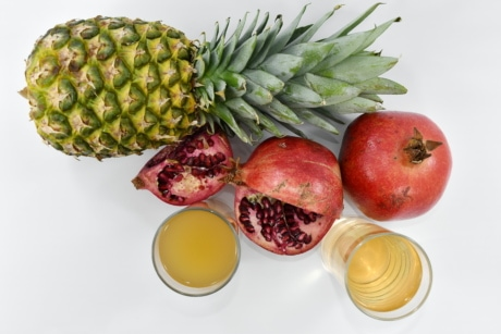 Beverage, jus de fruits, lunettes, Grenade, vitamines, alimentaire, produire, vitamine, ananas, fruits
