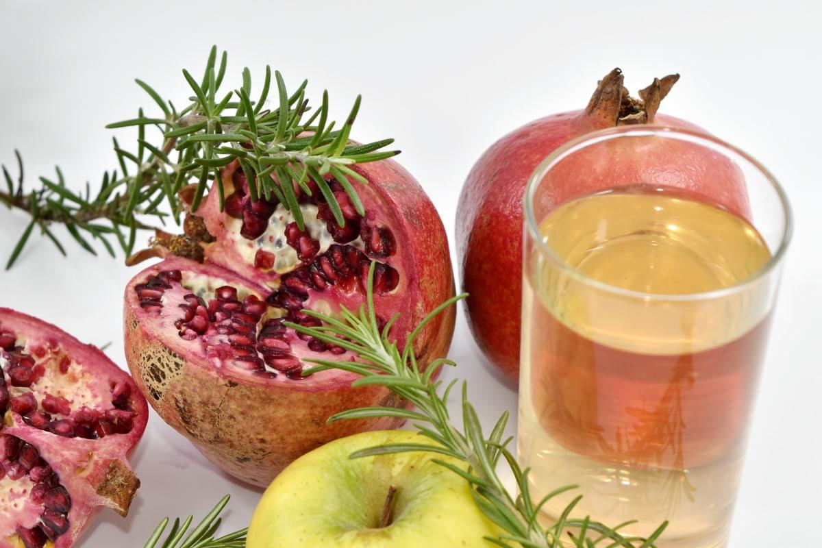 apple, fresh, fresh water, fruit, juice, pomegranate, health, nature, ingredients, glass