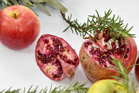 apples, pomegranate, rosemary, food, fruit, healthy, fresh, nature, nutrition, delicious