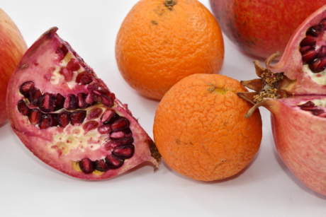 pomegranate, whole, citrus, tangerine, mandarin, sweet, fruit, healthy, vitamin, tropical
