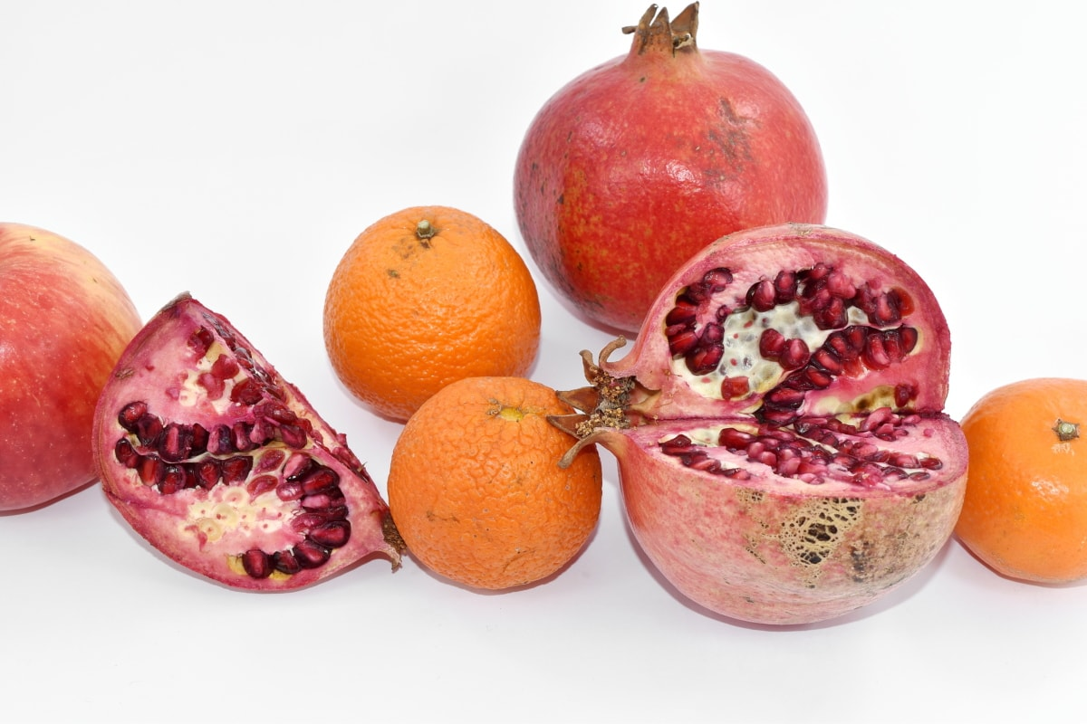 citrus, cross section, food, tangerine, vegetarian, sweet, pomegranate, tropical, fresh, healthy