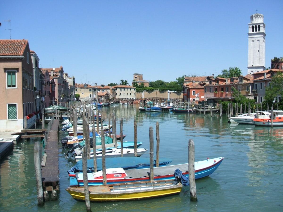brodovi, kanal, gradski pejzaž, gondolom, Italija, naselju na području, turizam, turistička atrakcija, putovanja, marina