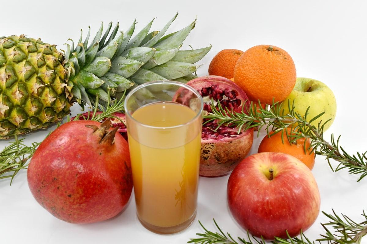 apple, citrus, fruit juice, mandarin, oranges, pineapple, pomegranate, diet, fresh, juice