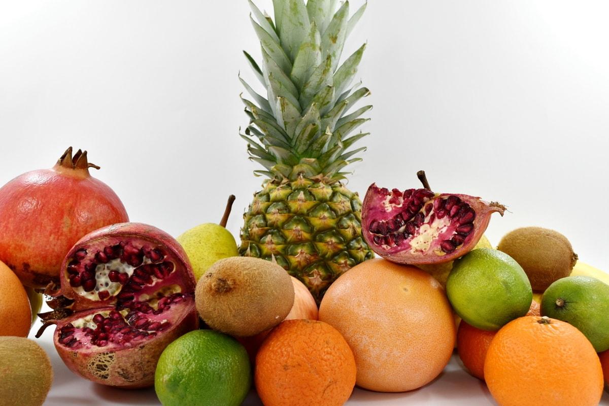 citrus, kiwi, lemon, pineapple, pomegranate, apple, orange, food, fruit, tropical