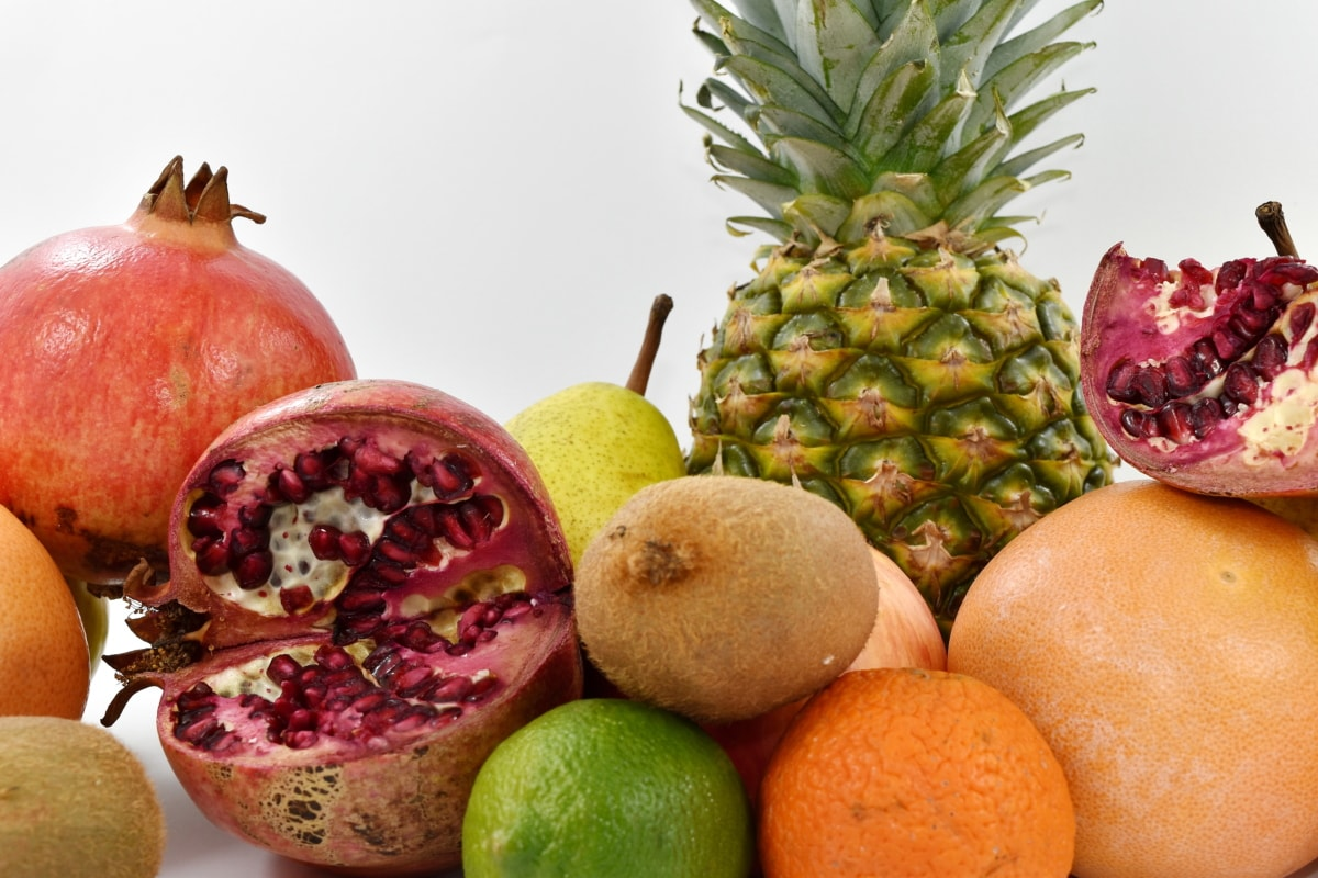 grapefruit, kiwi, pear, pineapple, pomegranate, fruit, produce, fresh, food, vitamin
